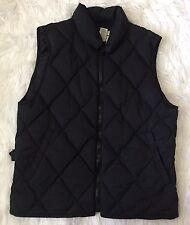 Eddie Bauer Women's M Black Quilted Goose Down Adjustable Waist Vest