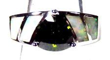 Silver 925 SF Size 10 Ring White Lab Fire Opal & 7mm Trillium Peridot