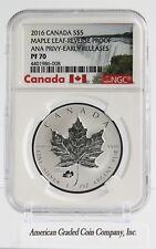 2016 $5 Canada 1OZ Silver Maple Leaf ANAHEIM ANA POPPY PRIVY Reverse Proof E.R !