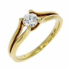 Solitaire Excellent Cut Yellow Gold VS2 Fine Diamond Rings