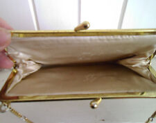 LADIES CLASSIC GOLD VINTAGE PURSE BAG WITH METAL CHAIN STRAP - 1960s