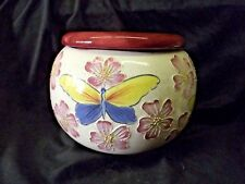 "Handpainted African Violet Pot ""Flowers & Butterflies"""