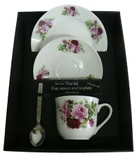 Pink Rose trio set. cup & saucer with teaspoon and matching tea plate gift boxe