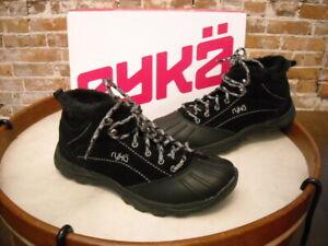 Ryka Black Suede Water Resistant Meridien Snow Ankle Boot NEW