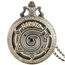Steampunk Japanese Anime Men Women Bronze Pocket Watch Necklace Pendant Gift+Bag