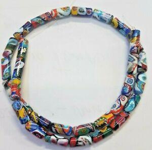 murrine  perle di vetro   multicolor  CILINDRO 13X6  mm  filo 40 cm