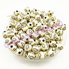 New 100 Pcs 8mm Beige Cross Acrylic Charm Round Spacer Loose Beads