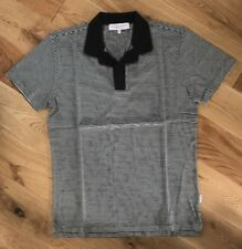 Orlebar Brown Mens Felix Charcoal Melange/Cloud Striped Polo Top S/S Medium