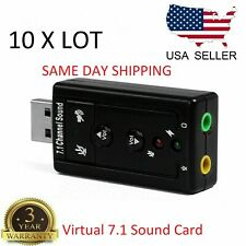 10 X USB 2.0 External 7.1 Channel 3D Virtual Audio Sound Mic Adapter Laptop PC