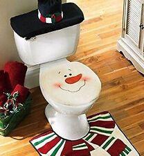 Snowman Santa Toilet Seat Cover & Rug Set for Bathroom Christmas Decor Set of 4