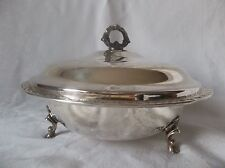 INTERNATIONAL SILVER COMPANY SPRING BLOSSOM FOOTED SERVING DISH W/ PYREX BOWL