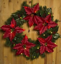 Large Christmas 56cm Poinsettia Faux Topiary Door Wreath with Warm White LED's