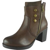 New Womens Ladies Zip Office Work Mid Heel High Casual Ankle Boots Shoes Size