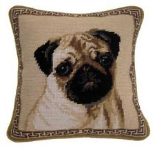 "Fawn Pug Dog Needlepoint Pillow 10""x10"" NWT"