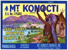 MT. KONOCTI Brand, Kelseyville, Lake County ***AN ORIGINAL PEAR CRATE LABEL***