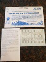 HO Champ Blue Ribbon SANTA FE 'HEAVYWEIGHT SUPER CHIEF' PASS. Decal Set #BRH-70