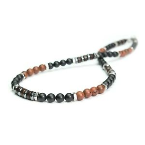 Bijoux Collier Homme Perles 6mm Pierre Agate Mahogany Obsidian Acier inoxydable