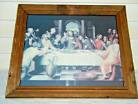 VINTAGE THE LAST SUPPER WOODEN FRAMED ART PRINT UNIQUE EARLY RELIGIOUS ART