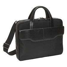 Knomo Stanley Black Nylon Twill /Leather Laptop Brief