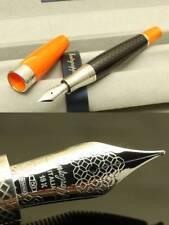 """Montegrappa """"MIYA CARBON"""" Fountain Pen, NIB:18k White Gold/M, Orange, MRSP 1375$"""