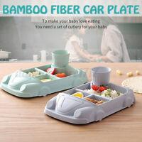 Kid Plate Bowl Cup Feeding Set Cartoon Car Shape Bamboo Fiber Children