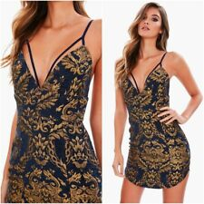 SALE Missguided Metallic Gold Jacquard Plunge Bodycon Mini Dress 4 UK 0 US