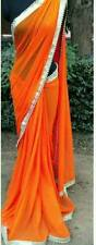 New Orange Georgette Sari Bollywood Party Wear Designer Ethnic Saree with Blouse