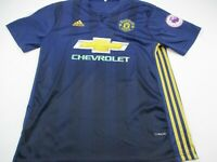 Manchester United Adidas Chevrolet Jersey Large Short Sleeve Blue Soccer Shirt