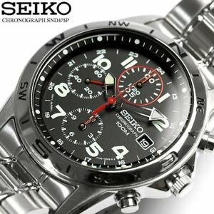 New!! SEIKO SND375PC SND375PC1 Chronograph 100m Black Men's Watch from Japan