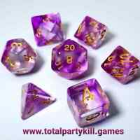 Purple Mystic Shard 7 Dice RPG Set Polyhedral DND Dungeons Dragons Pathfinder