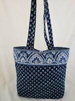Vera Bradley Nantucket Navy Button Tote Purse Bag Handbag Floral Classic Paisley