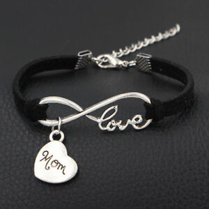 1pc Infinity Love Mom Bracelet Charm Anklet Heart Mothers Day Gift Jewelry Black