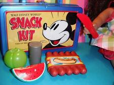 "Disney World Mickey Mouse Lunch Box w/ Play Food fits 16 18"" American Girl Doll"