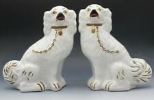 Pr White 19C Staffordshire Cavalier King Charles Spaniel Wally Dogs Statues