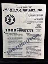 Martin Archery 1989 DISTRIBUTOR CONFIDENTIAL Price List (11 pages)