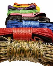 "RANDOM Synthetic Winch Rope Line Cable 1/4"" x50' 7000 LB With Rock Guard For ATV"