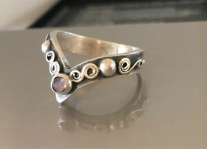 Estate Mexico Sterling Silver 925 Amethyst V Ring Size 6.25 3.54g