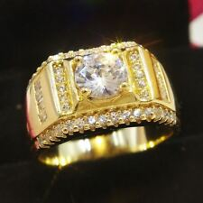 Mens Diamond Pave Pinky Engagement Wedding Ring Band in 10k Yellow Gold Finish