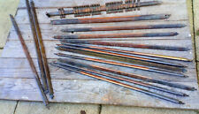 ANTIQUE STAIR CARPET RODS CLIPS  c1920  incomplete  26 clips 16 rods (13 steps)