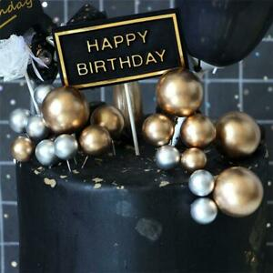 10Pcs Lovely Silver Gold Ball Cake Topper Wedding Birthday Party Cake Decoration