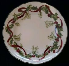 """CHARTER CLUB WINTER GARLAND SALAD LUNCHEON PLATE(S) 9"""" CHRISTMAS HOLLY"""