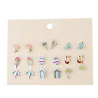 9 Pairs Flowers Tree Tropical Summer Theme Earring Stud Set Lovely Girls
