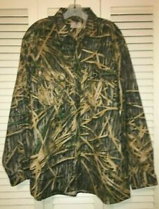 MOSSY OAK Flannel Camo Camouflage Green Brown XLT Tall Long Sleeve Hunting Shirt