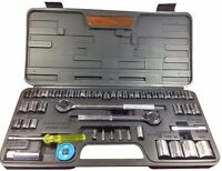 "52PC Socket Set 1/4"" 3/8"" Drive Sae Metric Ratchet Extension Car Garage Tool"