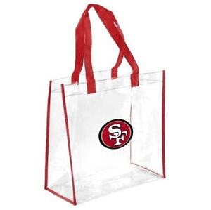 San Francisco 49ers Clear Reusable Plastic Tote Bag NFL 2021 Stadium Approved