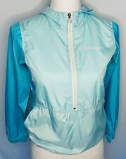 Columbia Girls Windbreaker pullover front pouch longsleeve teal blue hood 10/12