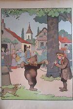 BENJAMIN RABIER LOT de 20 DESSINS COULEURS EXTRAIT du BUFFON CHOISI de 1924