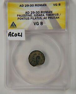 Pontius Pilate, Prutah, ANACS VG 8, Tiberius, AD29/30, Judea, Time Christ, AC021