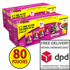 Whiskas Adult Cat Food in Jelly Poultry Selection 2 x (40x100g) = 80 Pouches!
