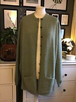 Cotswold Collections Cardigan Size Xxxl 20 22 24 Lambs wool Pure Sage Green